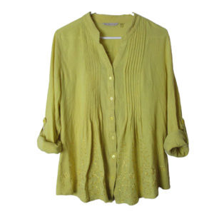 Soft Surroundings yellow glam gauze top tab sleeve
